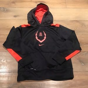 Nike Boys Black and Red Football Therma-Fit Hoodie